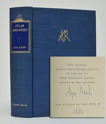 Rand Ayn Atlas Shrugged Signed Limited Edition New York Random House 1967 First Fine Stated 9th Printing The
