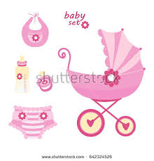 Set The First Things A Newborn Baby On White BackgroundThe Strollerbottle