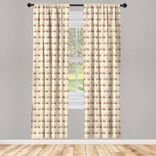 gardine fensterbehandlungen 2 panel set für wohnzimmer schlafzimmer dekor abakuhaus retro romantisches kuchen muster kaufen otto