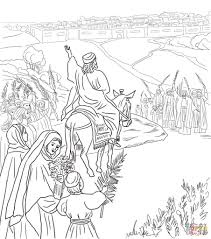 Jesus Riding On A Donkey Coloring Page