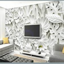 Leaf Pattern Plaster Relief Murals 3D Wallpaper For Walls Living Room TV Backdrop Bedroom Wall Painting Decoration