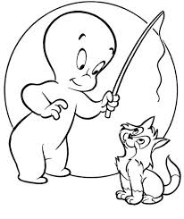 Casper Ghost Coloring Pages For Kids With Cat