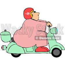 Obese Fat Woman Driving A Scooter Moped Clipart By Djart