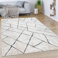teppich wohnzimmer kurzflor vintage modernes marmor rauten muster beige grau