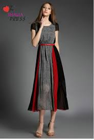 sh 020 grey black red striped short sleeve maxi dress casual plus