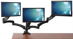 Monitor Stands For Desk by Triple Monitor Desk Mount Integrated Cable Management