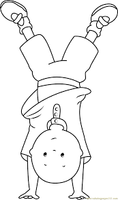 Caillou Standing On Hands Coloring Page