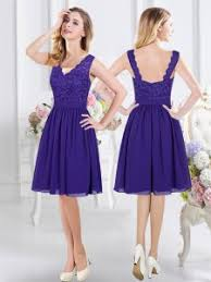 30255 10425 High Class Chiffon Scalloped Sleeveless Zipper Lace Dama Dress For Quinceanera In Purple
