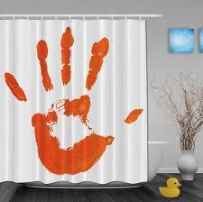 Splash Printing Orange Shower Curtain Funny Palm Hand Shower
