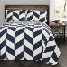 Walmart Chevron Bedding by Jigsaw Chevron Navy Bedding Quilt Set Walmart Com