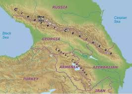 mountain ranges of europe caucasus mountains map
