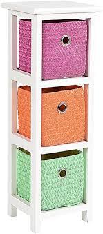 ts ideen kommode nachttisch schrank 62 cm höhe bad regal weiß mit 3 körben in orange pink grün für kinderzimmer büro bad flur und babyzimmer
