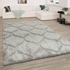 hochflor teppich wohnzimmer shaggy 3d effekt geometrisches muster modern hellgrau
