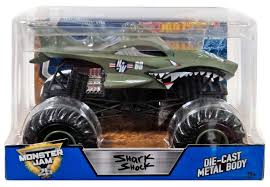 100 Monster Truck Wheels Hot Jam 25 Shark Shock 124 DieCast Car Mattel Toys