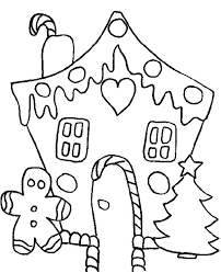 White Christmas Gingerbread House Coloring Page