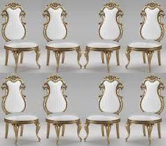 casa padrino luxus barock esszimmer stuhl set weiß silber antik gold 55 x 55 x h 120 cm prunkvolle gestreifte küchen stühle barock stühle 8er