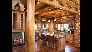 cherry wood natural glass panel door log cabin kitchen ideas sink
