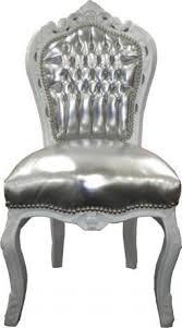 casa padrino barock esszimmer stuhl silber lederoptik weiß