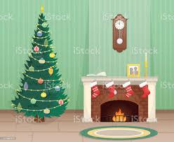 wohnzimmer mit weihnachtsbaum und backsteinkamin mit weihnachtssocken für geschenke weihnachten flache vektorillustration stock vektor und mehr