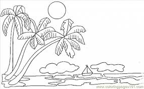 Palm Tree Coloring Pages Nature Free With Intended