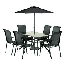 6 Seat Patio Table Rectangular Anthracite Set With Parasol Dimensions