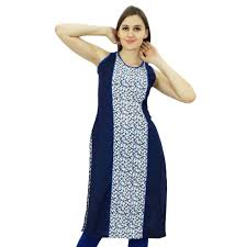 bimba womens cotton tunic sleeveless floral kurta kurti indian