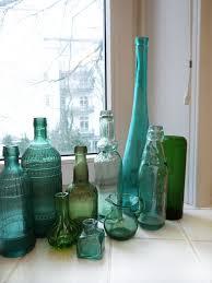 flaschengrün dekoration flaschen badezimmer deko türkis