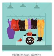 Fashion Clothing Shop Or Woman Dress Boutique Sale Vector Flat Design