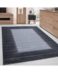 teppich modern designer wohnzimmer bordüre muster meliert grau hellgrau