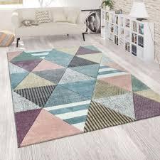 wohnzimmer teppich rauten design 3 d muster bunt