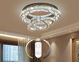 led kristall deckenleuchte dimmbar mit fernbedienung wohnzimmer le modern ring design deckenle ø60cm 108w rostfreier stahl luxus kristallle