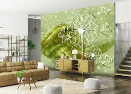 details zu vlies fototapete pusteblume ornament grün tapete vliestapete