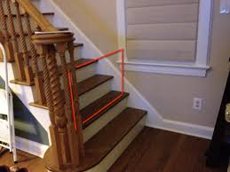Baby Gate Suggestions For Unusual Bottom-of-stairs? : Daddit Baby Gate For Stairs With Banister Ipirations Best Gates How To Install On Stairway Railing Banisters Without Model Staircase Ideas Bottom Of House Exterior And Interior Keep A Diy Chris Loves Julia Baby Gates For Top Of Stairs With Banisters Carkajanscom Top Latest Door Stair Design Wooden Rs Floral The Retractable Gate Regalo 2642 Or Walls Cardinal Special Child Safety Walmartcom Designs