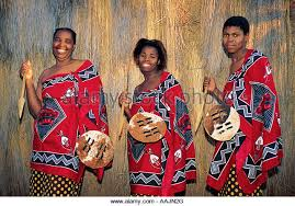 Three Swazi Ladies In Cultural Dress Mpumalanga South Africa