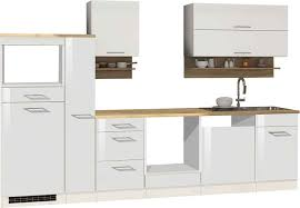 lomado küche weiß 310 cm maranello 03 weiß hochglanz ohne e geräte b x h x t ca 310 x 200 x 60cm