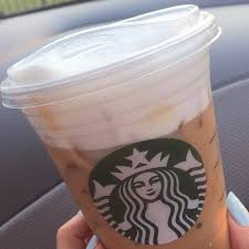 Starbucks Iced Grande Blonde Cold Foam Cappuccino With Caramel Syrup Almond Milk On The