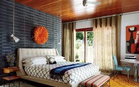 Mid Century Modern Bedroom Light Brown Varnished Oak Wood Black