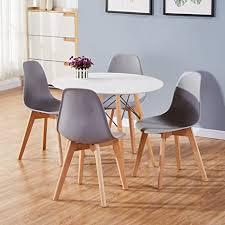 goldfan esstisch mit 4 stühlen essgrupp runder tisch und grau stuhl esstisch set für wohnzimmer küche usw 80cm