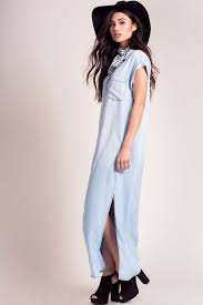 memdalet women u0027s short sleeve long chambray shirt dress w slits