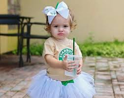 Frappe Girls Costume Toddler Coffee Girl Halloween Tutu Costumes Starbucks Shirt Outfit