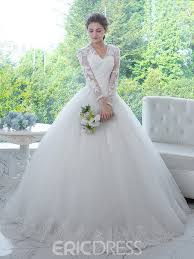 ericdress classic v neck appliques long sleeves ball gown wedding