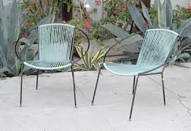 Mid Century Outdoor Furniture Modern Charlotte Patio Two Chairs Blue Yarn Color Nature Relaxing Simple