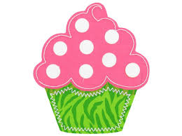 Creations of Grace Pink Green Cupcake Iron Applique