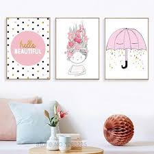 Posters And Prints Wall Art Canvas Painting Hello Beautiful Kids Room Girl Cartoon Print Paintings Nordic Poster Unframed