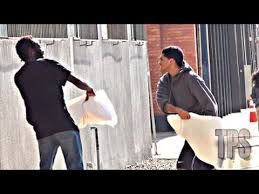PILLOW FIGHTS IN THE HOOD PRANK