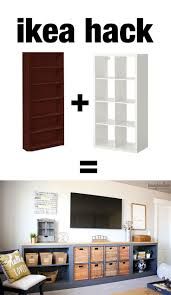 Ikea Living Room Sets Under 300 by Ikea Hack Expedit Into Long Storage Unit Ikea Hack Living