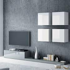 details zu wohnwand jupiter ii wohnzimmer set grau weiß hochglanz schrankwand lowboard