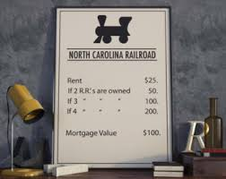 Monopoly Inspired North Carolina Railroad Poster Board Game Print Office Decor Decoration Ideas