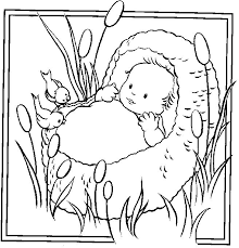 Beautiful Baby Moses Coloring Page 73 In Free Kids With