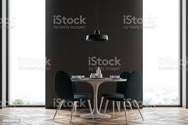 schwarze wand esszimmer minimalismus stockfoto und mehr bilder behaglich